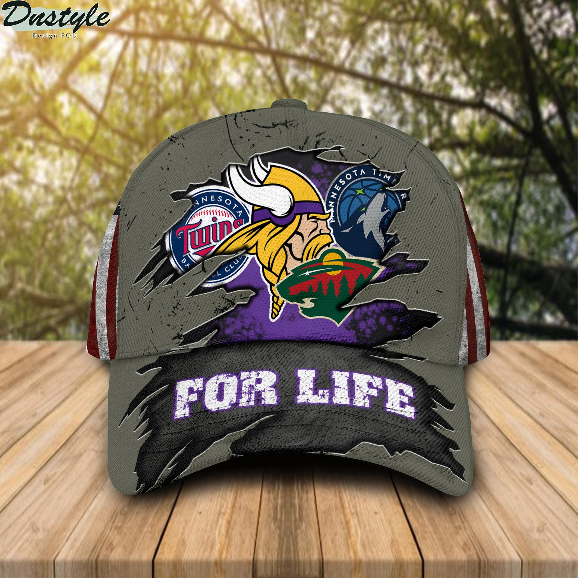 Minnesota Vikings Twins Timberwolves Wild For Life Cap