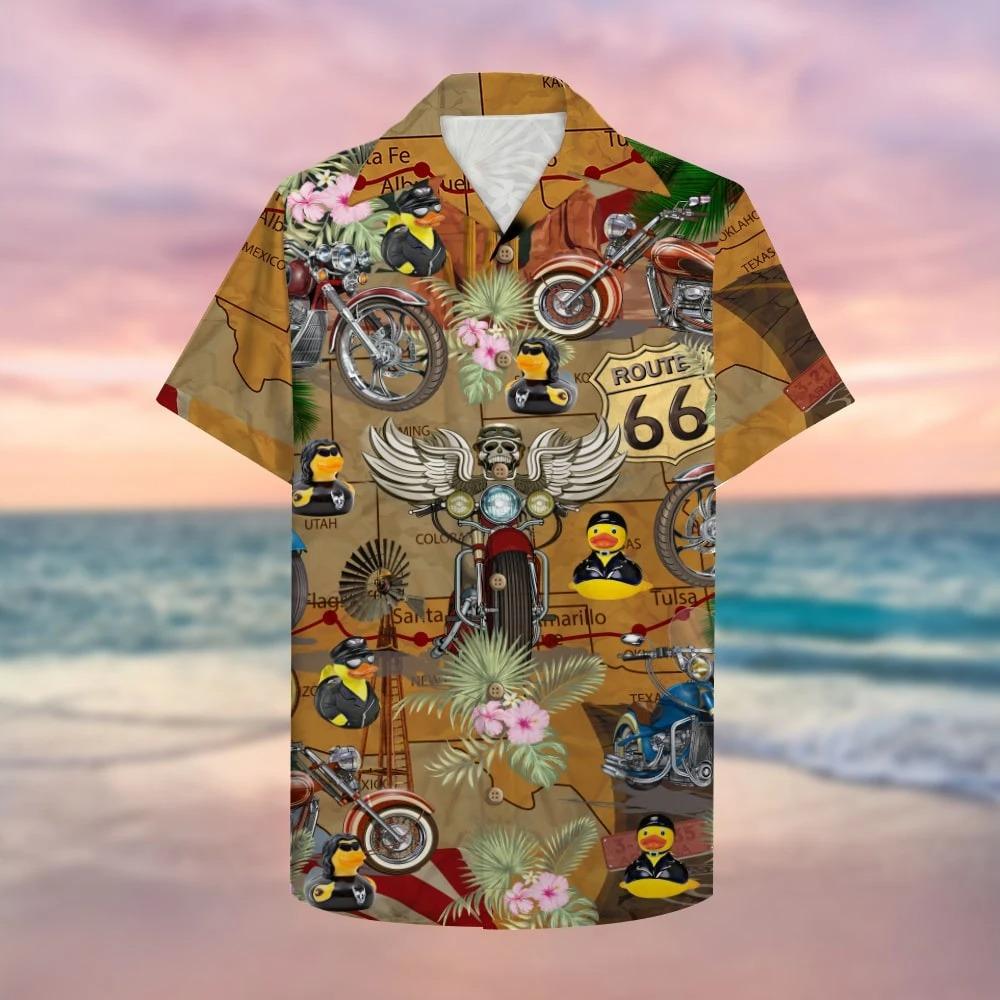 Motorcycle Rubber Duckie Hawaiian Shirt 1