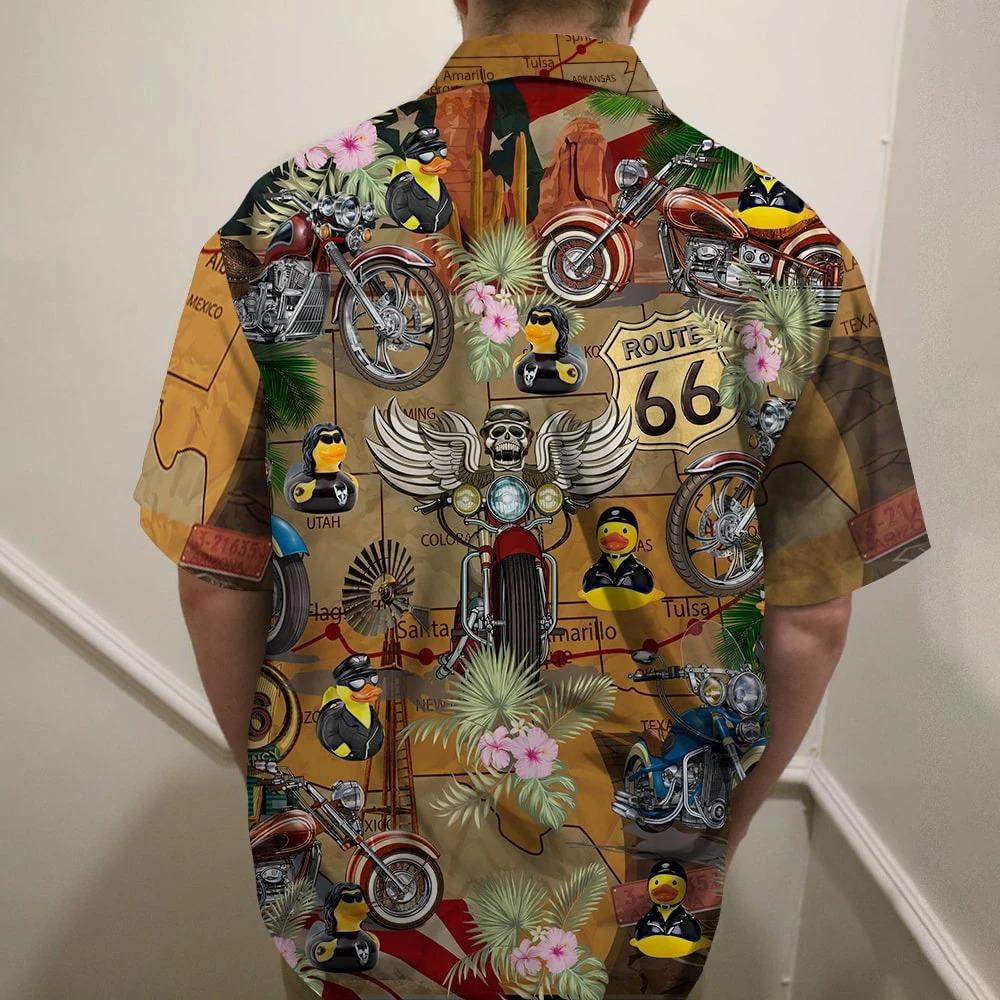 Motorcycle Rubber Duckie Hawaiian Shirt 2
