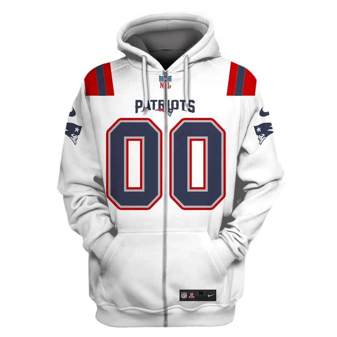 NFL New England Patriots custom name and number 3d printed zip hoodie