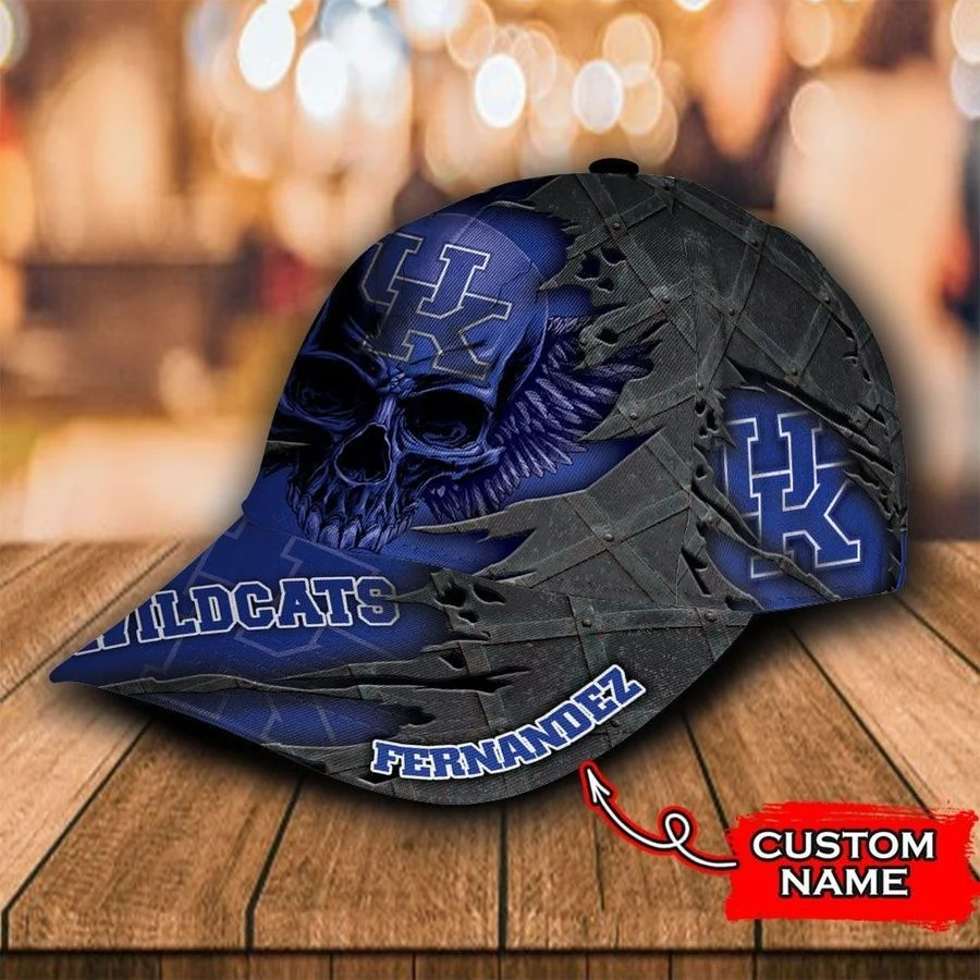 Ncaa kentucky wildcats 3d skull custom name classic cap 2