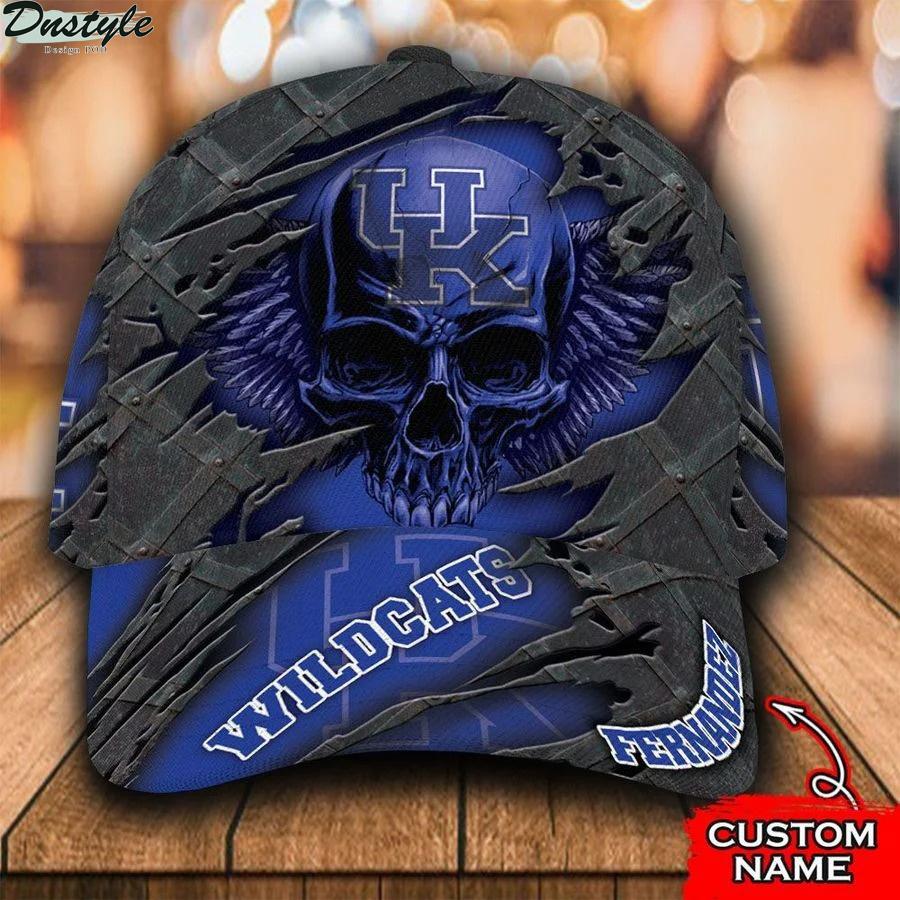 Ncaa kentucky wildcats 3d skull custom name classic cap