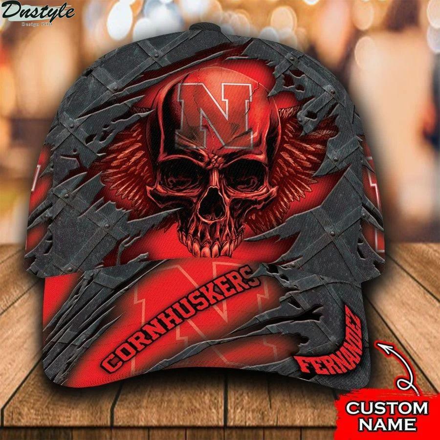 Nebraska Cornhuskers football NCCA Skull Custom Name Classic Cap