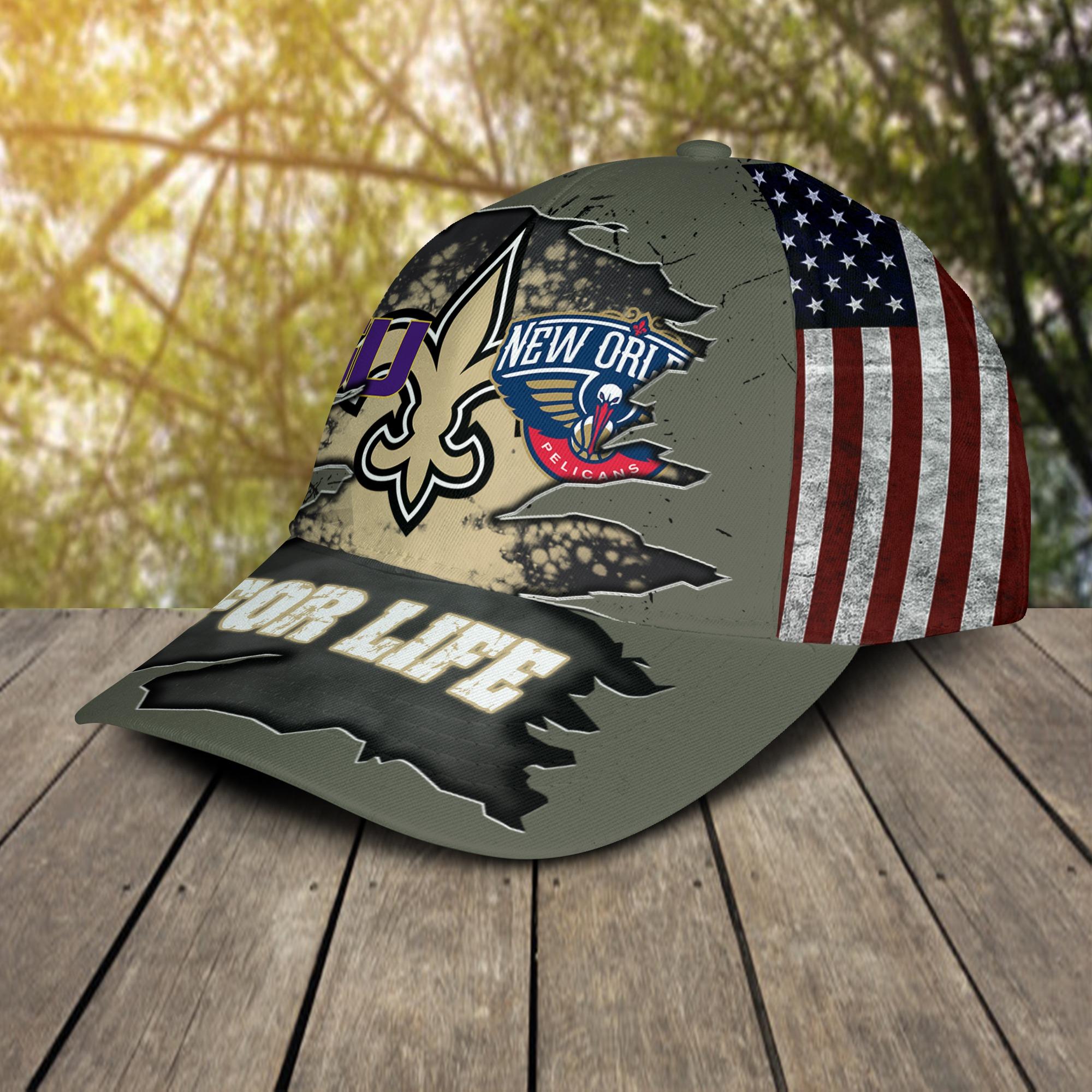 New Orleans Saints New Orleans Pelicans LSU Tigers For Life Cap 2
