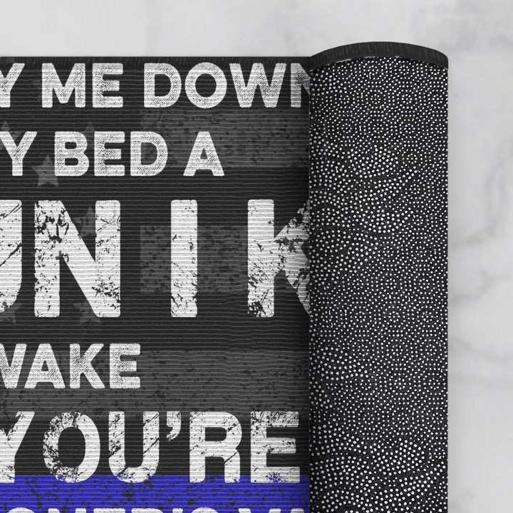 Now I lay me down to sleep beside my bed a gun I keep doormat 2