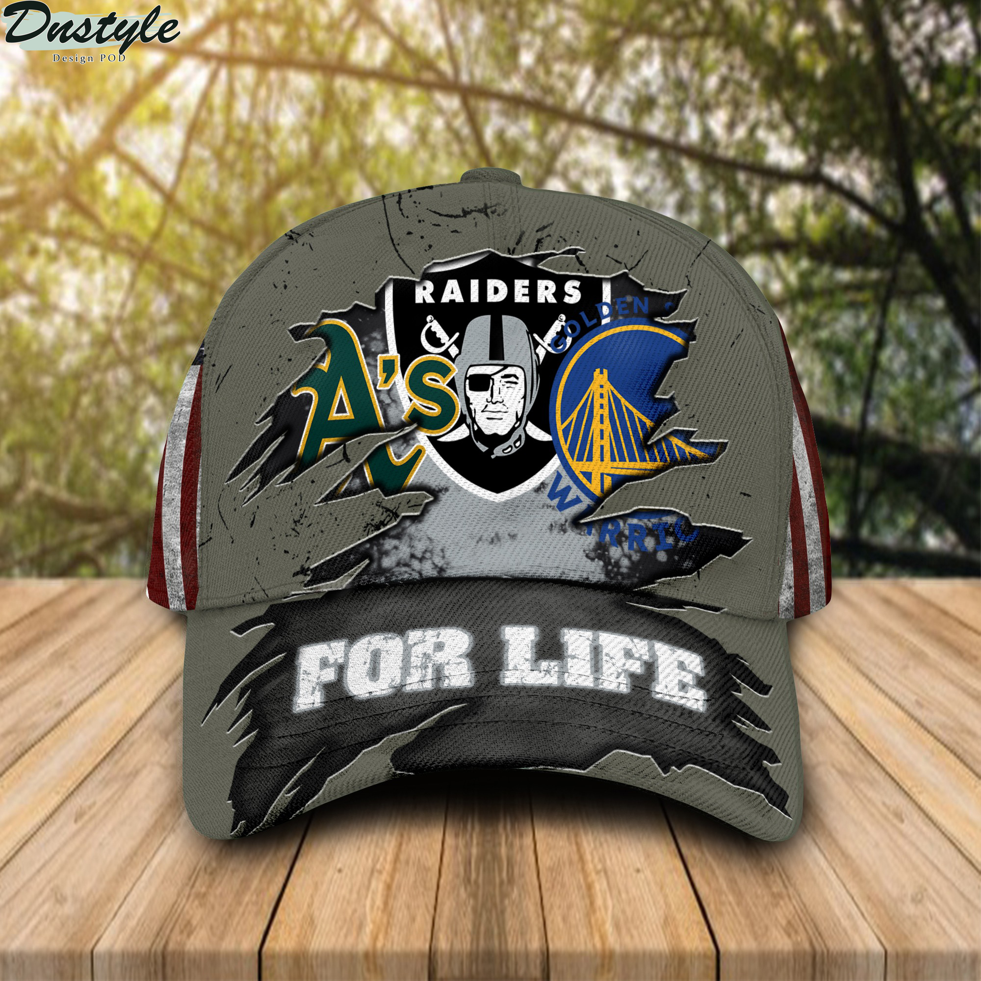 Oakland Athletics Oakland Raiders Golden State Warriors for life cap