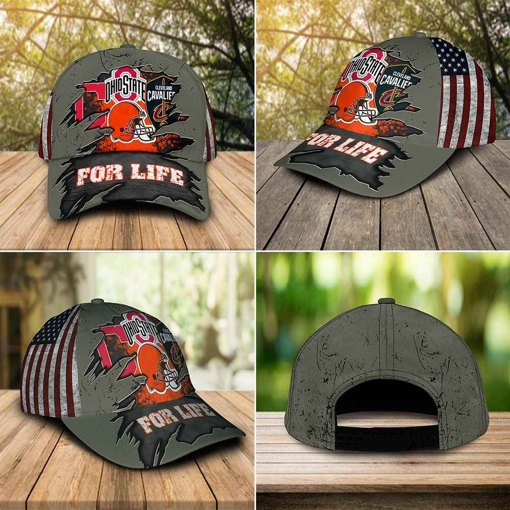 Ohio State Buckeyes Cleveland Cavaliers Cleveland Indians Cleveland Browns for life cap 3