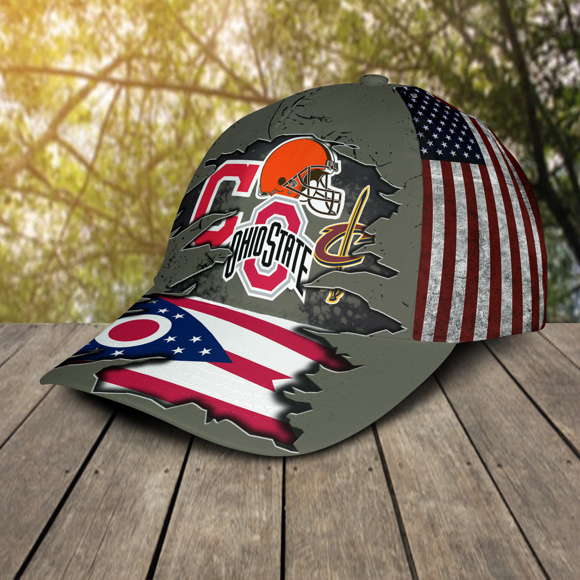 Ohio state buckeys cleveland cavaliers cleveland indians cleveland browns cap 1