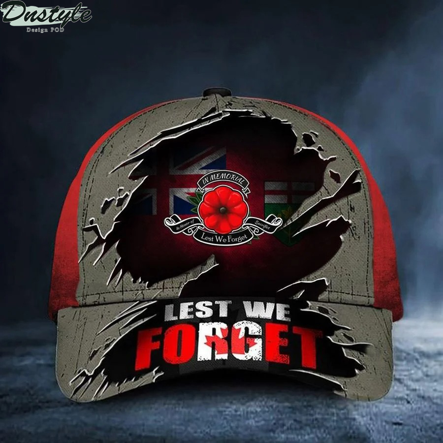Ontario Lest We Forget Poppy Canada Flag Remembrance Day Hat