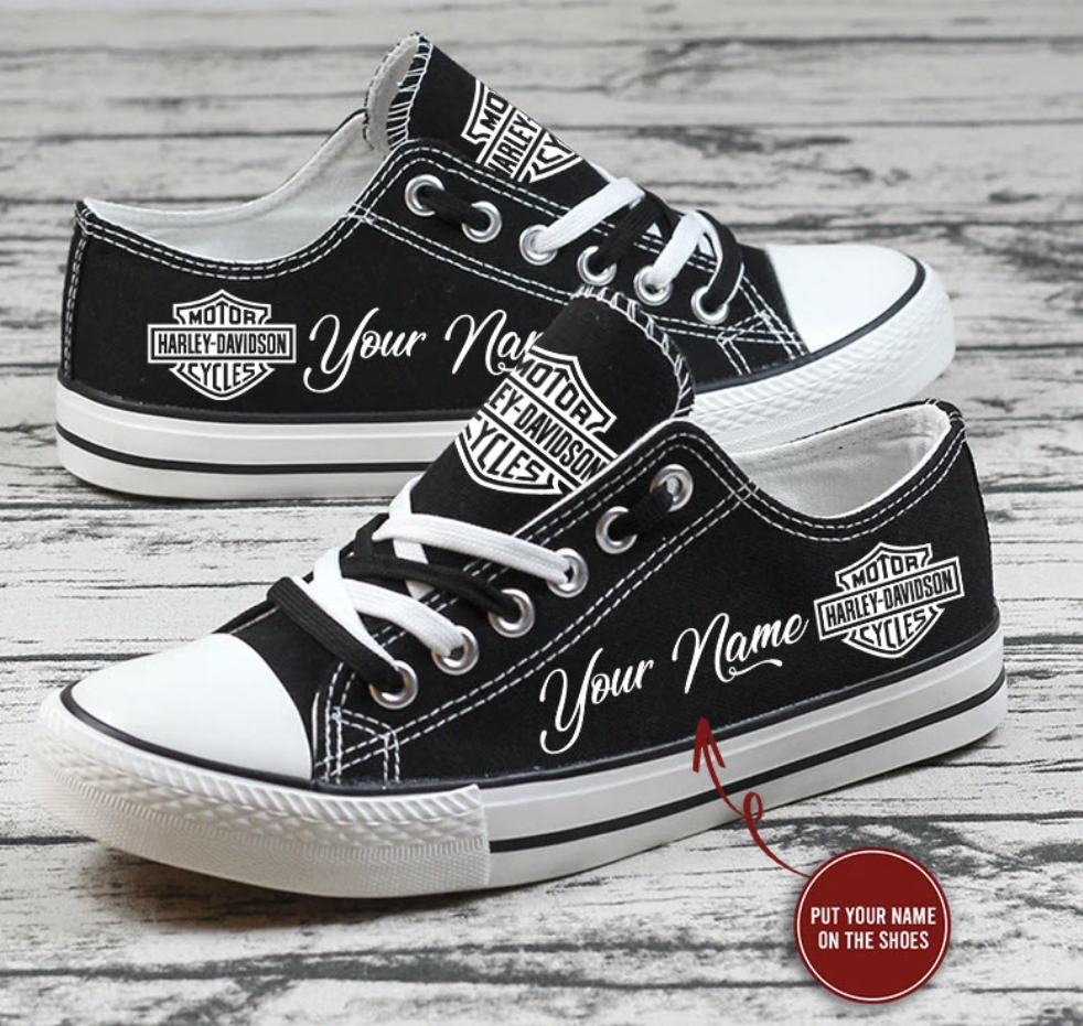 Personalized Harley Davidson low top shoes