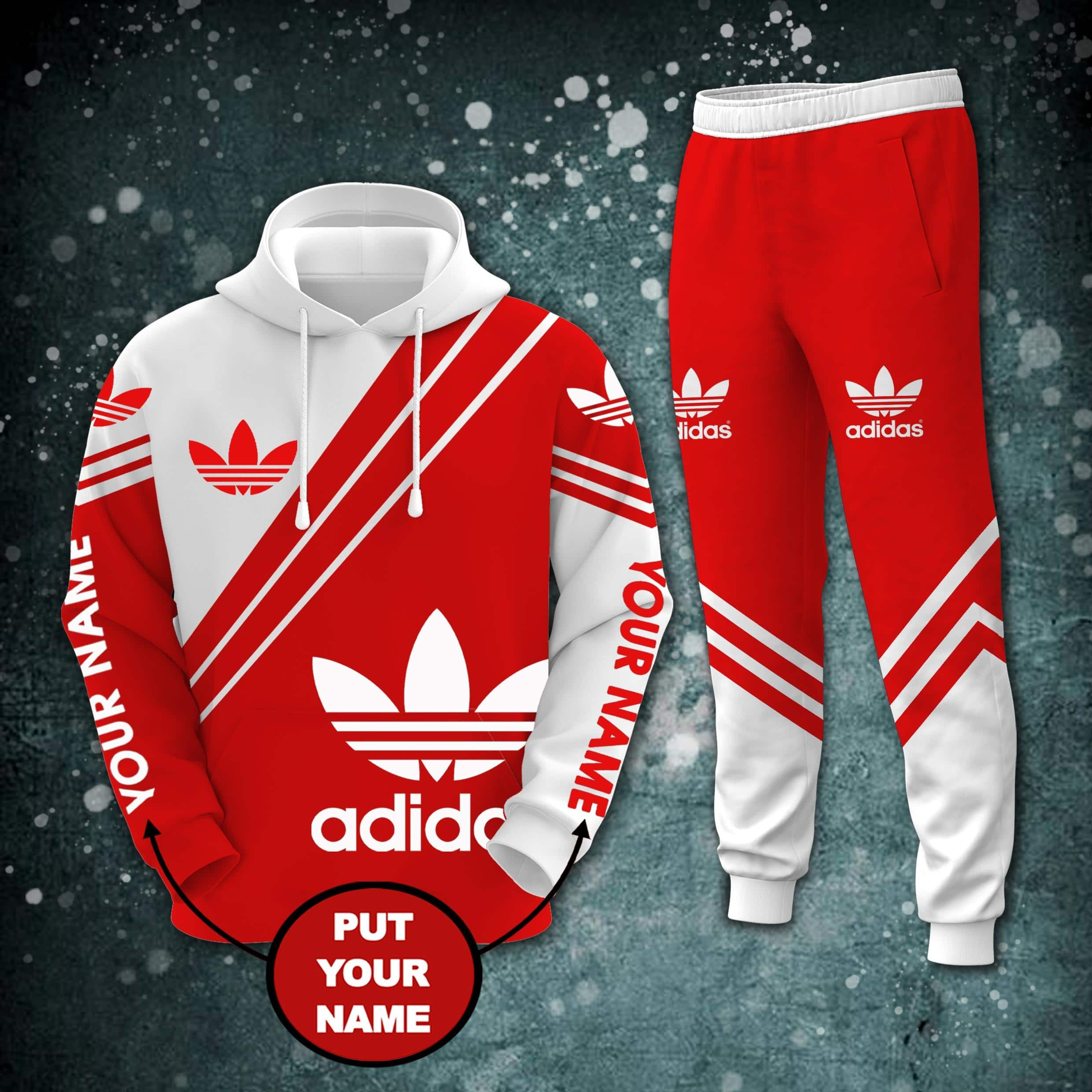 Personalized custom name adidas all over printed hoodie and long pant