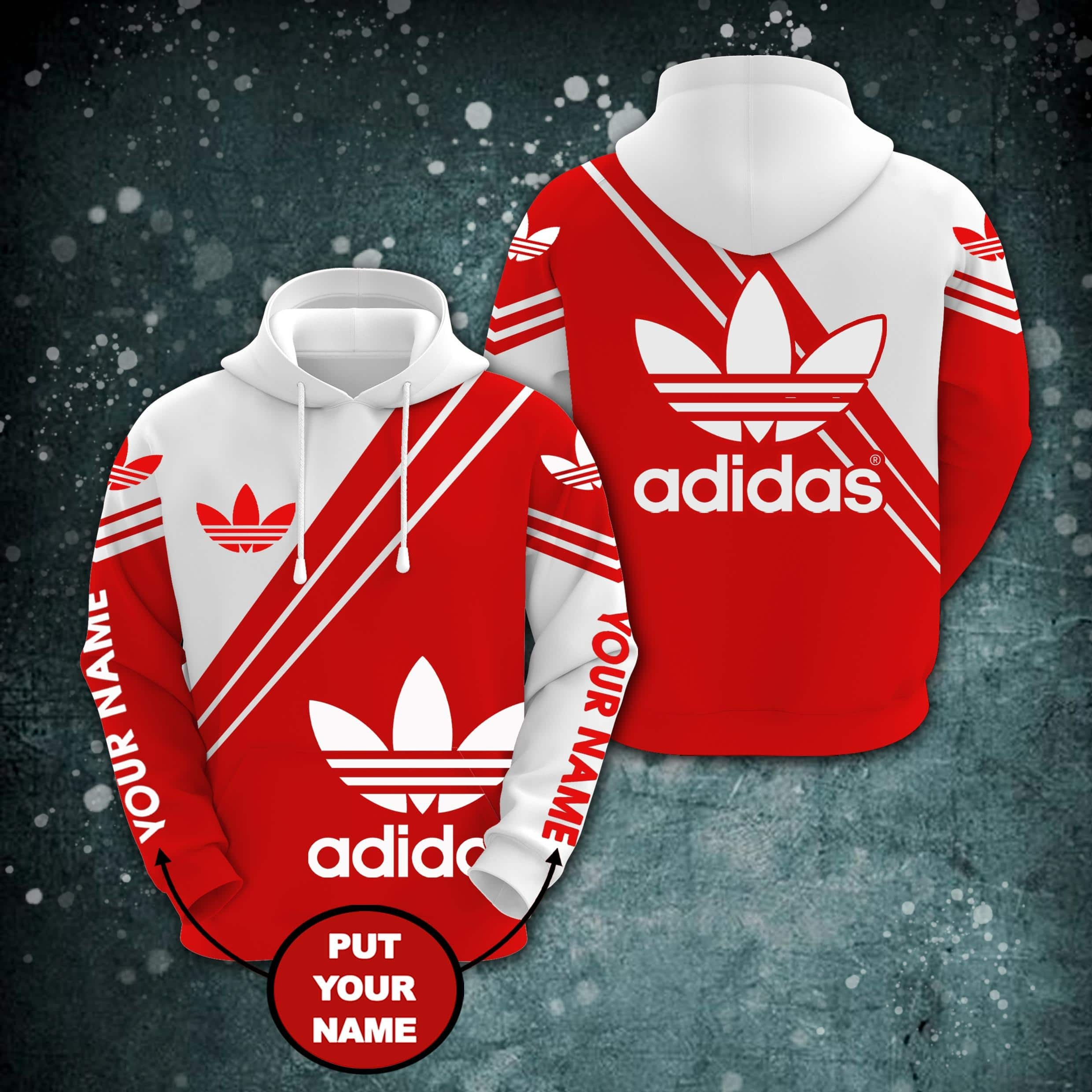 Personalized custom name adidas all over printed hoodie