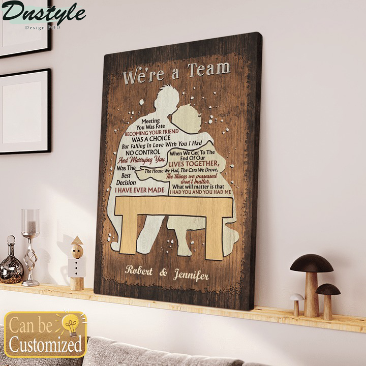 Personalized custom name couple loves together we're a team canvas