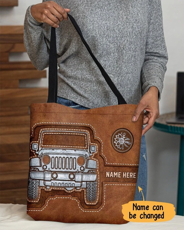Personalized jeep girl tote bag