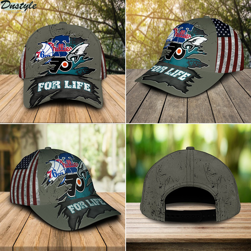 Philadelphia Eagles Flyers 76ers Phillies for life cap