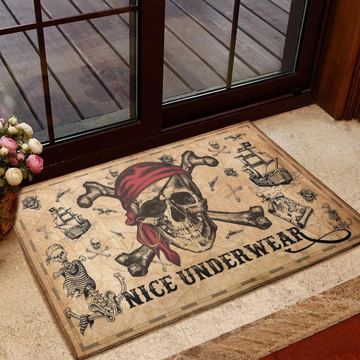 Pirate skull and crossbones nice underwear doormat 2
