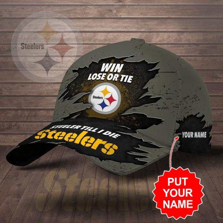 Pittsburgh Steelers win lose or tie Steeler till I die personalized cap hat 1