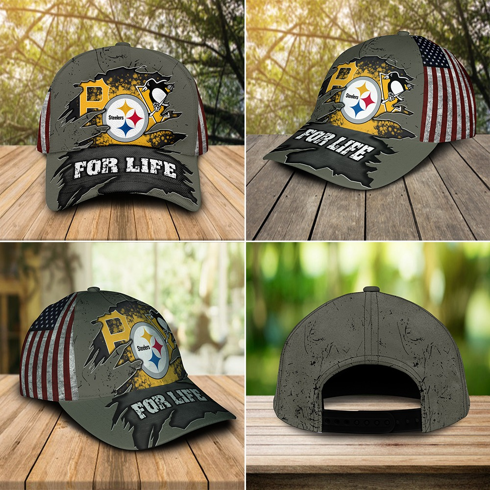 Pittsburgh sports team pirates steelers penguins for life cap 3