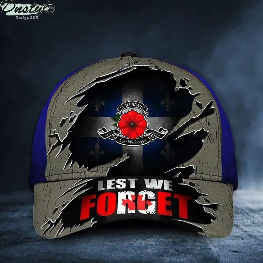 Quebec Lest We Forget Poppy Canada Flag Remembrance Day Hat