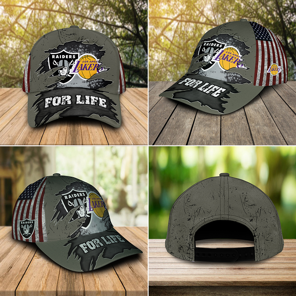 Raiders And Los Angeles Lakers For Life Cap 1