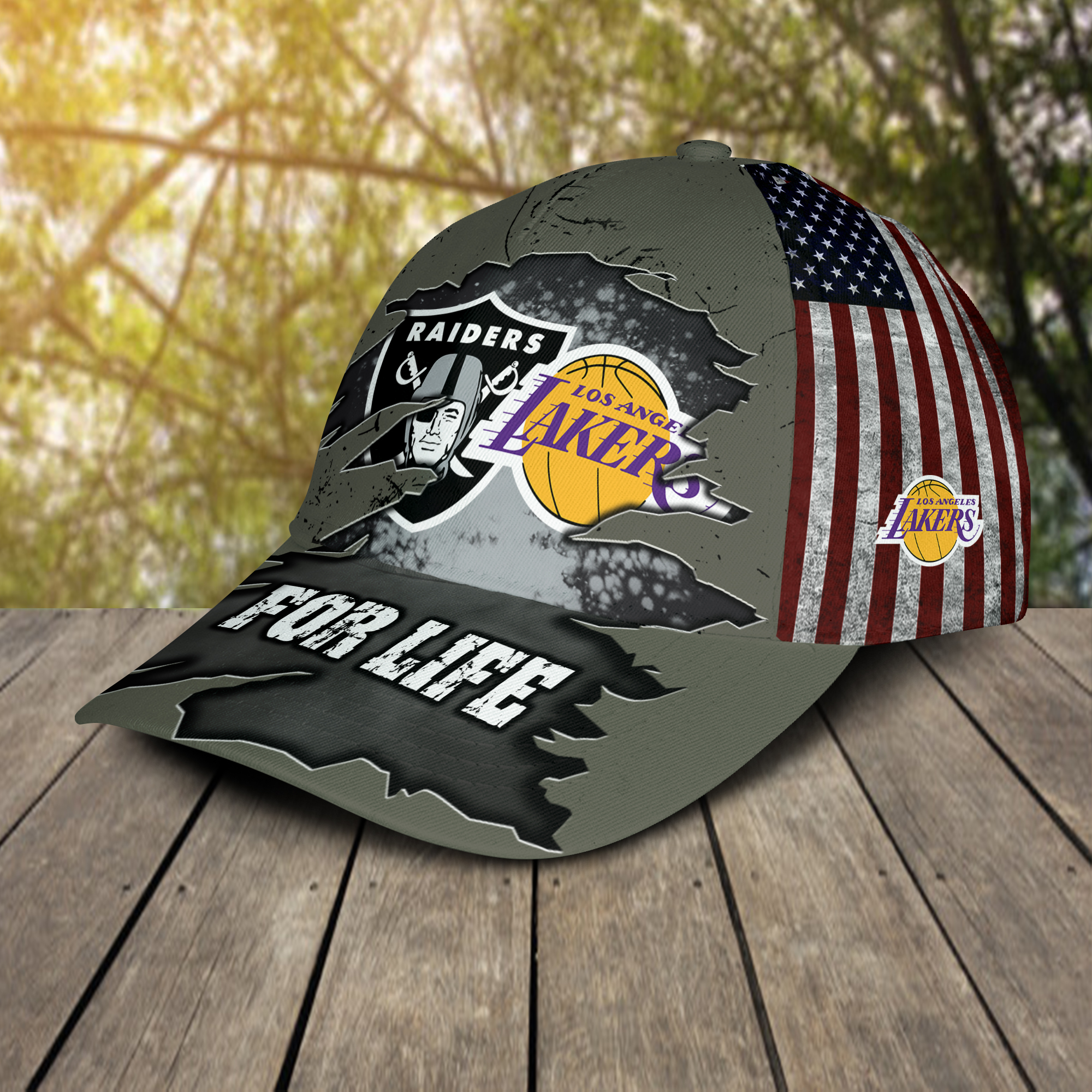 Raiders And Los Angeles Lakers For Life Cap 3