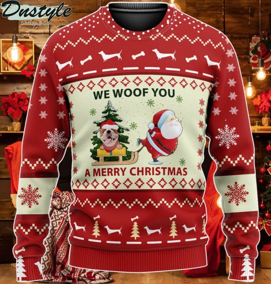 Red Bulldog We Woof You A Merry Christmas Ugly Sweater