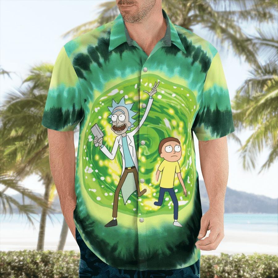 Rick and morty science hawaiian shirt 1