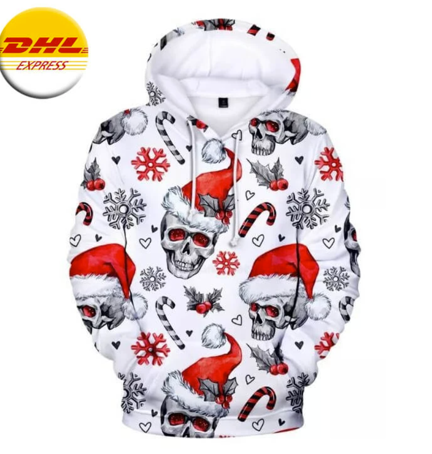 Skull Merry Christmas all over printed 3D hoodie