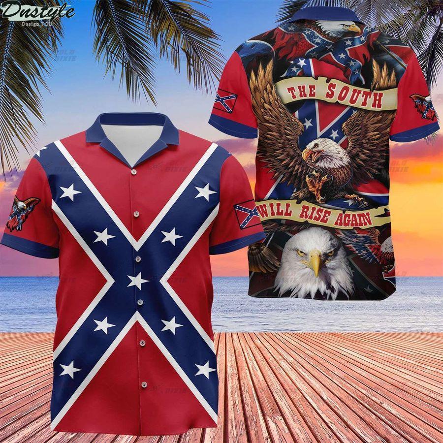 Southern confederate flag the south will rise again hawaiian shirt
