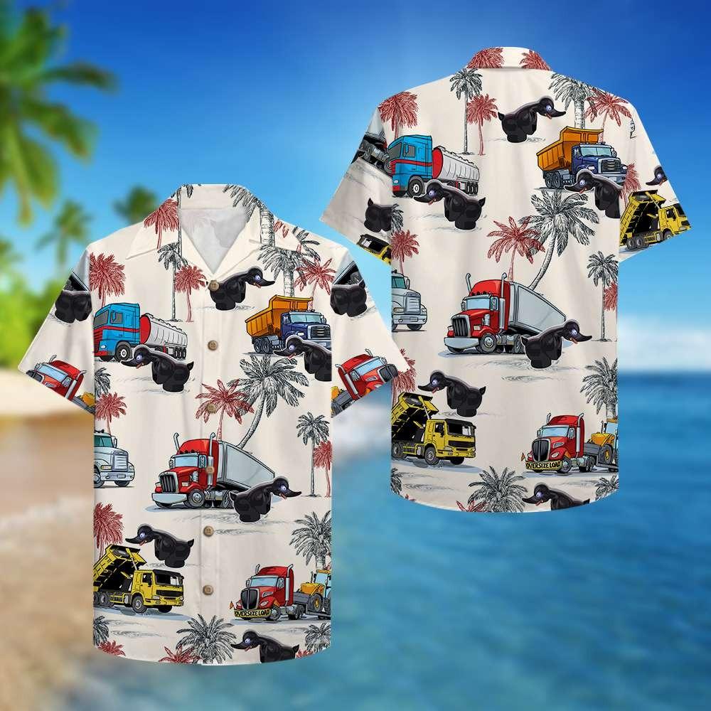 Truck black duck hawaiian shirt 2