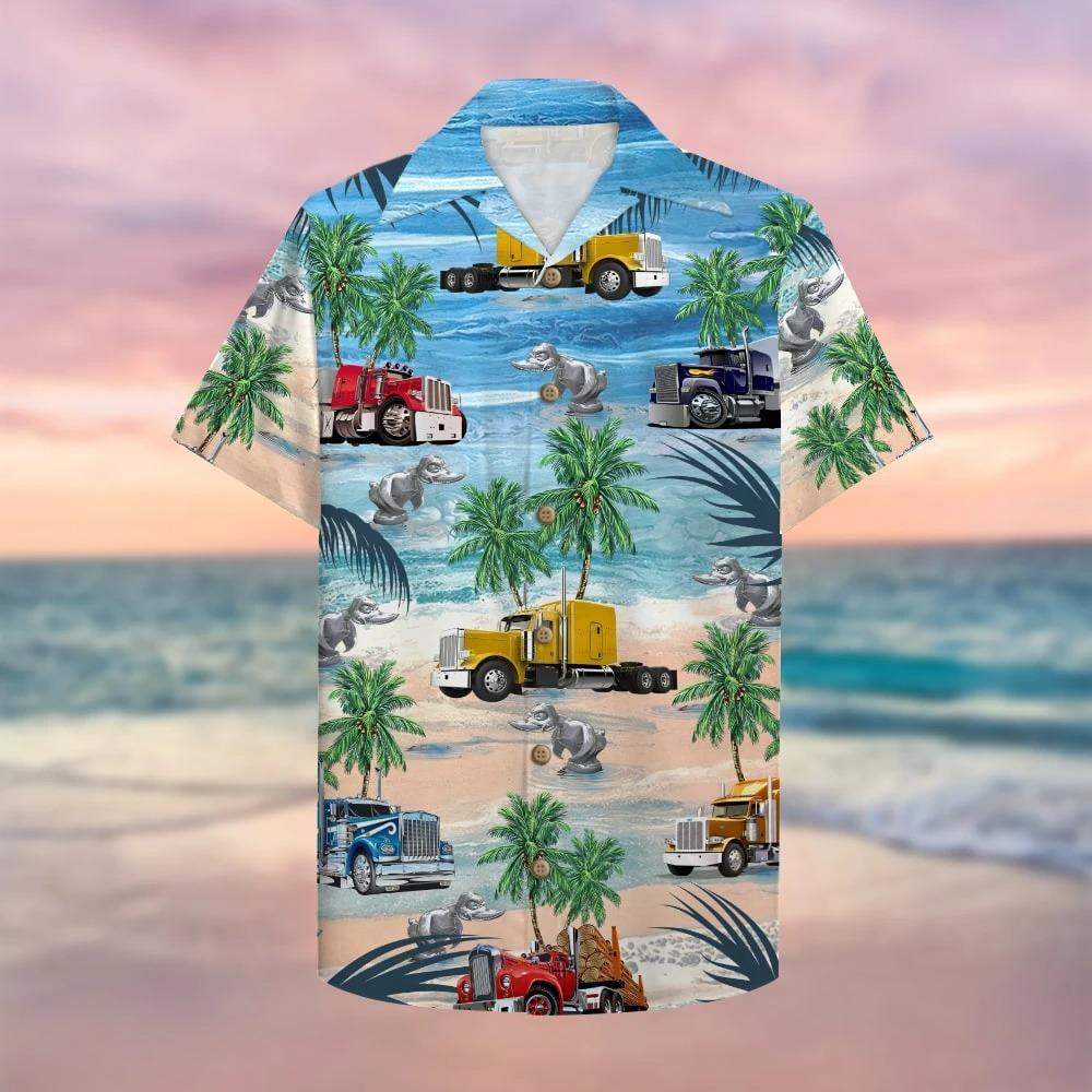 Trucker semitruck aloha hawaiian shirt 1