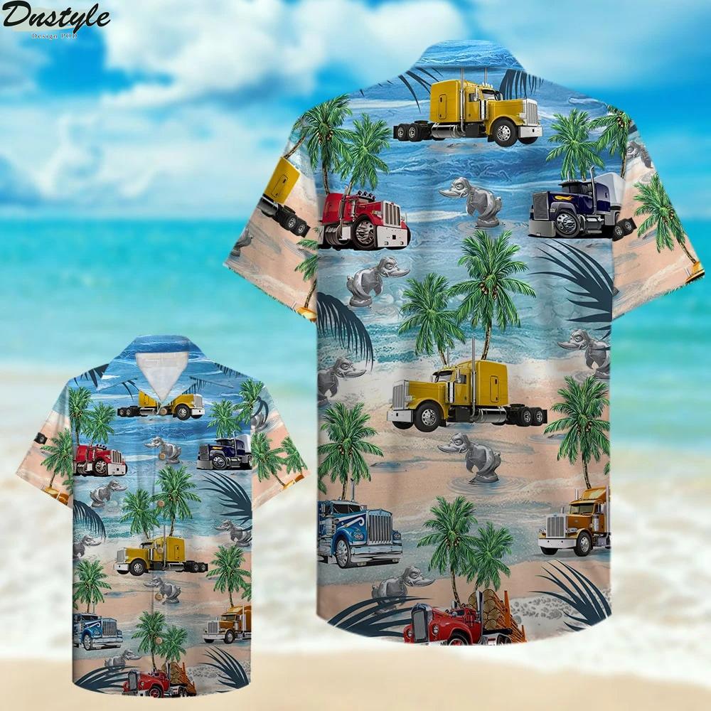 Trucker semitruck aloha hawaiian shirt