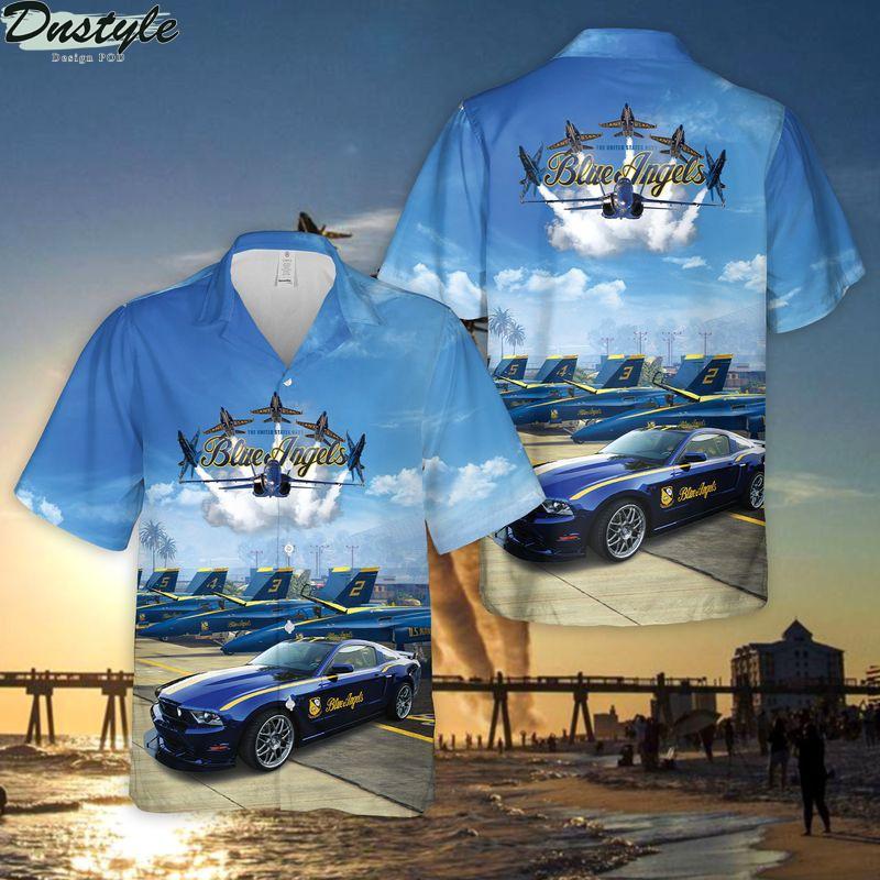 US Navy Blue Angels Ford Mustang GT Hawaiian Shirt