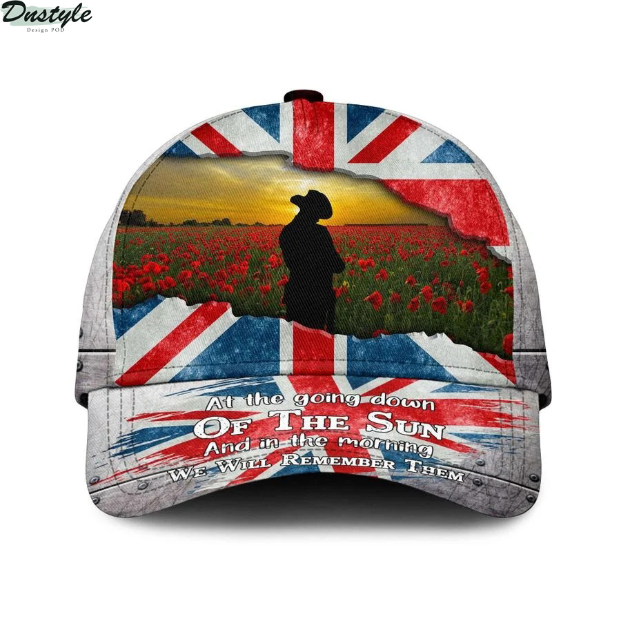 Uk lest we forget at the going down of the sun and in the morning we will remember them cap