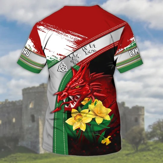 Wales Cymru Personalized Name 3D Tshirt 1