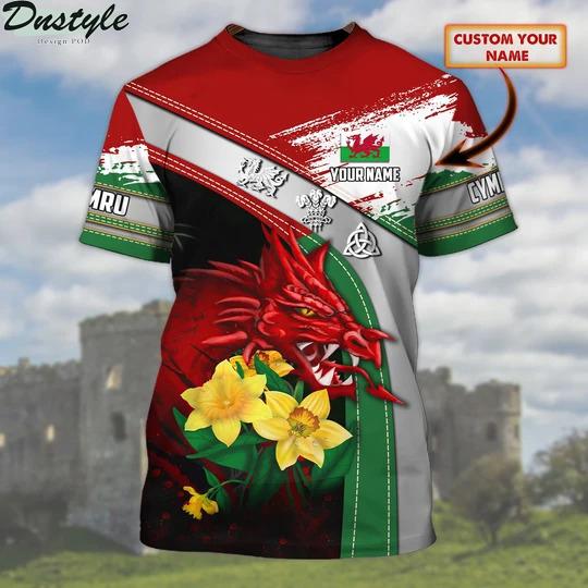 Wales Cymru Personalized Name 3D Tshirt