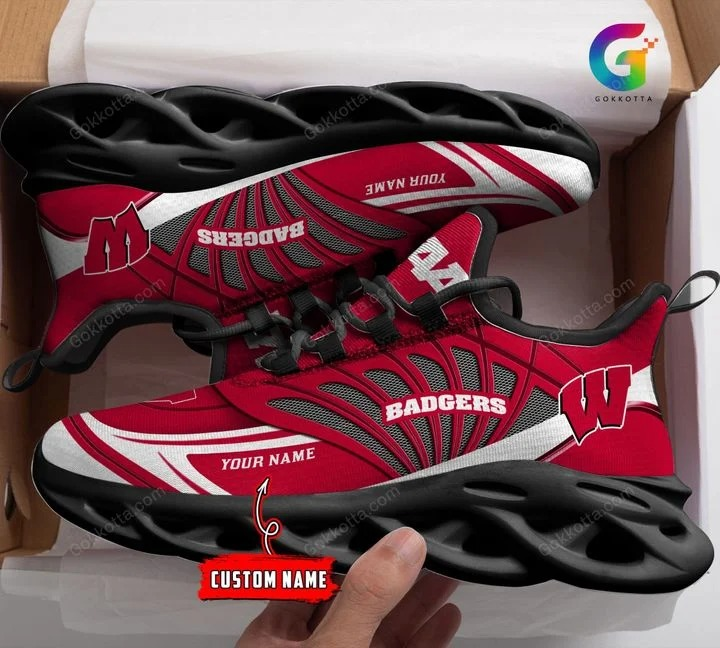 Wisconsin badgers NCAA personalized max soul shoes 1