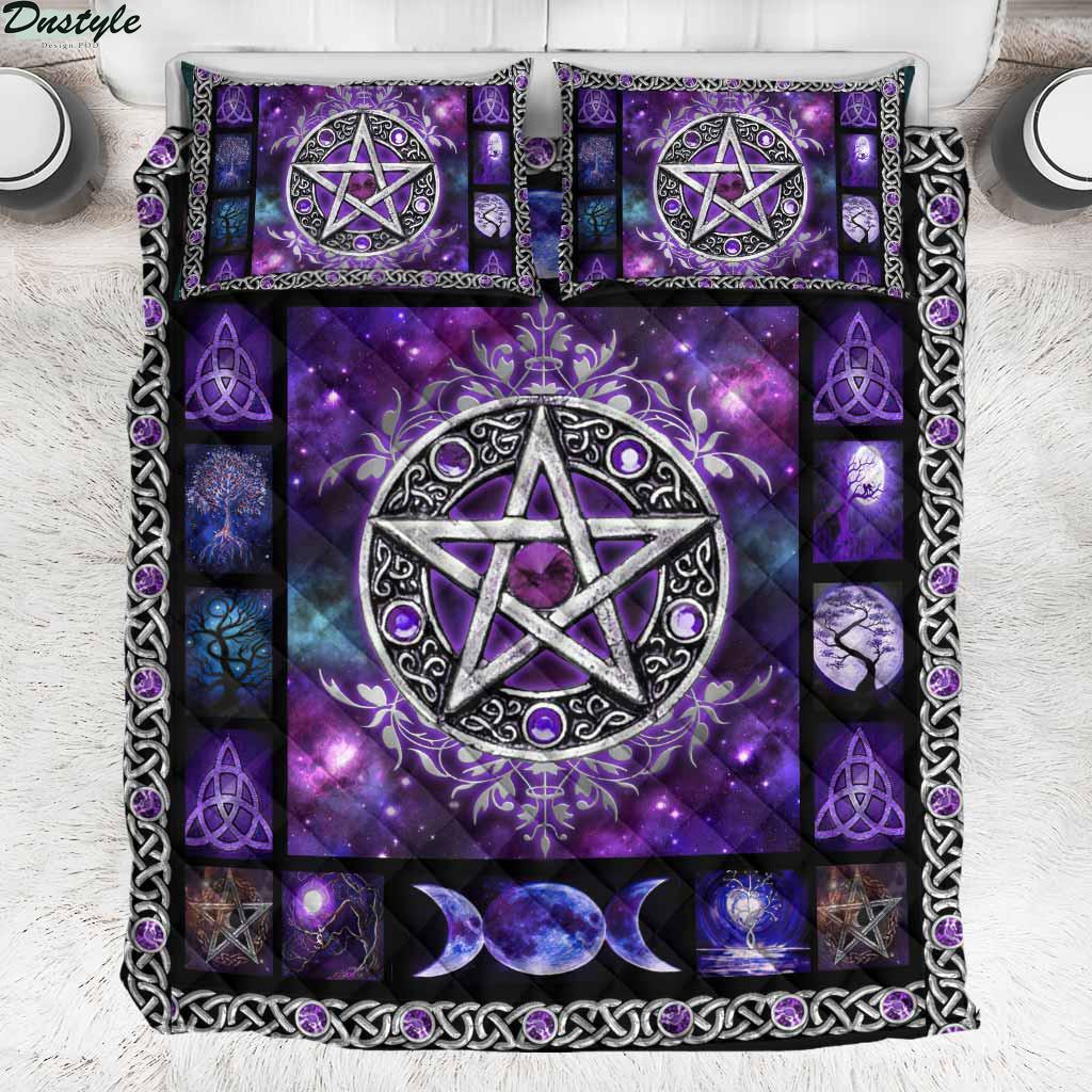 Witch Vibes Purple Pentagram Quilt Set